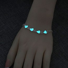 brilliant bracelet Australia - Brilliant accessory Luminous Heart Bracelets Light Up Anklets Blue Fluorescent Jewelry Glow in Dark bracelets for women