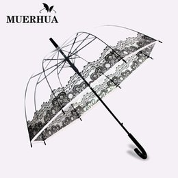 MUERHUA Transparent Clear Folding Umbrella Rain Women 8K Windproof Long  Handle Men kid Umbrellas Classic Paraguas Semi-automatic 981931475a69