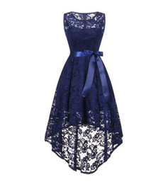 fashion short gown dresses UK - Bridesmaid Dresses wedding party dress party dress prom gown girl Front short long back dark blue Bow fashion women