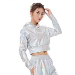 dancing shorts women UK - Fashion Women Spring Summer Fluorescence Pullover Short Jacket Ladies Jazz Ds Hip Hop Stage Performance Streetwear Dance Top