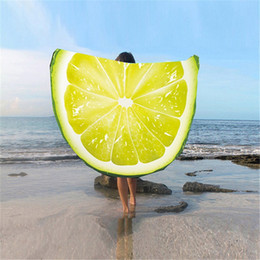 Discount circle beach towels - 3D Fruit Printed Round Tapestry Yoga Mat Beach Towel Polyester Circle Watermelon KIWI Dragon fruit Outdoor Home Textile