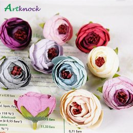 Fake Flowers For Crafts Australia - 50pcs Artificial Tea Rose Bud Small Peony Camellia Flores Flower Head For Wedding Ball Decoration Diy Craft Gifts Fake Flowers