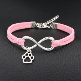 $enCountryForm.capitalKeyWord Australia - Handmade Braided Light Pink Braided Leather Suede Bracelets & Bangles Fashion Infinity Love Cute Mini Dog Paw Prints Jewelry for Men Women