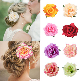 Bridal Brooch Flower UK - Bridal Bridesmaid Rose Flower Hairpin Women Hair Clips Brooch Wedding Party Headwear Party Girls Festival Hair Accessories