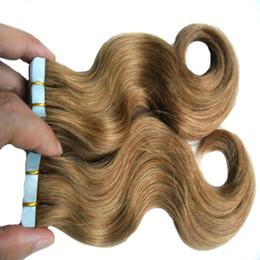 $enCountryForm.capitalKeyWord NZ - 2pack  lot Virgin Peruvian Body Wave Tape Hair Extensions PU Skin Weft Tape In Human Hair Extensions Medium Brown