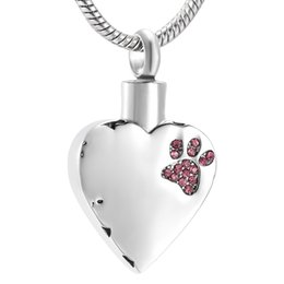 China LKJ9981 Free Filling Kit & Instructions, Silver Heart with Paw Etching Pet Urn Necklace Ash Holder Keepsake Cremation Jewelry suppliers