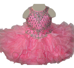$enCountryForm.capitalKeyWord UK - Baby Girls Crystal Pageant Cupcake Dress Princess Jewel Diamond Birthday Party Short Gowns For Infant Special Occasion