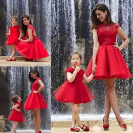 Discount picture dress mother daughter - Cheap Red Lace Mother And Daughter Dresses Evening Wear Sheer Jewel Neck A-Line Backless Prom Gowns Tulle Short Mini Par