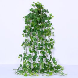 plastic scenery UK - 56'' 142CM High Quality Greenery Sweet Potato Dense Leaves and Vine Ivy Artificial Fake Hanging Plant Leaves Greenery Wedding Party Garlands