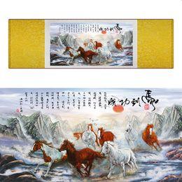 $enCountryForm.capitalKeyWord Australia - Top Quality Chinese Horse Be Painting Horse Art Painting Silk Scroll Art Painting Eight Horse Painting19062810