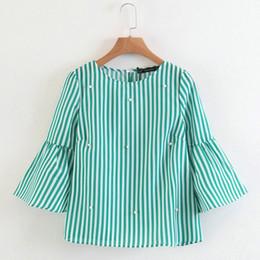 $enCountryForm.capitalKeyWord NZ - Elegant Women Pearls Beading Striped Shirt Flare Sleeve O Neck Blouse Ladies Summer Brand Casual Tops Blusas