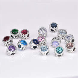 Charms armband perle diy silber aushöhlen strass frauen diy schmuck 925 sterling silber kristall strahlende charme perlen vf1072 im Angebot