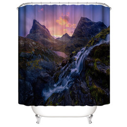 shower stream Australia - High Mountains Running Water Stream in the Sunset 3D Digital Printing Printed Waterproof Bathroom Window Shower Curtains Art With Hooks