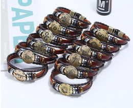 Diy Multi Layer Bracelet Australia - 3pcs lot New lovers 12 constellation leather bracelet diy multi-layer Beaded couple charm bracelet jewery for men and women hot sale item