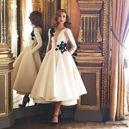 Tea Party Dresses White Canada - Exquisite Ivory White A Line Evening Dresses 2019 Jewel Neck Long Sleeves Black Flower Tea Length Formal Gowns Homecoming Party Dress
