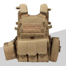 green army tactical vest men NZ - 6094 Hunting Tactical Molle Vest Outdoor Combat CS Vest Army Training Protective Body Armor