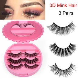 $enCountryForm.capitalKeyWord Australia - 3 Pairs mixed Mink Hair False Eyelashes Wispies Fluffy Lashes Natural Long Eye Lashes With Mirror Case