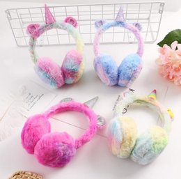 fleece earmuffs UK - Unicorn Ear Muffs Winter Cartoon Thicken Plush unicorn Earmuffs fleece Solid Color Kids Ear Warmer Earmuffs Party Favor GGA1392 NEW