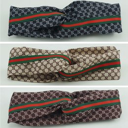 Ladies siLk beLts online shopping - Soft G Letter Silk Headband Fashion Elastic Ladies Printing Cross Head Belt Woman Party Travel Headwraps TTA883
