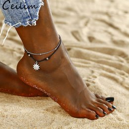 Bracelet Pendants Sun Australia - Bohemia Sun Pendant Beads Anklet Bracelet for Women Double Layer Rope Anklet in the Summer Barefoot Anklet Beach Jewelry Gifts