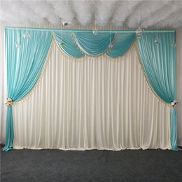 $enCountryForm.capitalKeyWord Australia - Luxury ice silk white chiffon fabric wedding stage backdrop swags with tassels drape curtain for wedding baby shower party decortaions