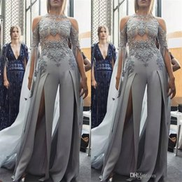China Sexy Split Jumpsuits Prom Dresses 2019 New Design Saudi Arabic Illusion Evening Gowns Lace Appliqued Beads Zuhair Murad Party Suit cheap gold backless zuhair murad dress suppliers