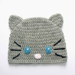 toddler crochet cat hat Canada - Adorable Knit Little Cat Hat,Handmade Crochet Baby Boy Girl Animal Hat,Infant Earflap Winter Beanie,Newborn Toddler Photography Prop