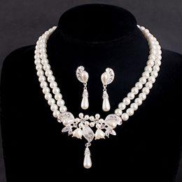 $enCountryForm.capitalKeyWord Australia - Bridal Wedding Jewelry Artificial Pearl Crystal Rhinestone Necklace Earring Sets Wedding Party Jewelry Accessories 2pcs set