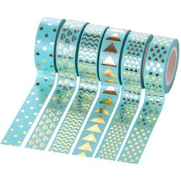 $enCountryForm.capitalKeyWord Australia - 6 Pcs lot Gold Decorative Paper Green Pink White Washi Tape Set Japanese Stationery Kawaii Scrapbooking Supplies Stickers 2016