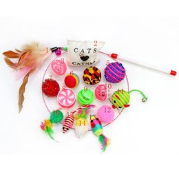 feather wand NZ - 16 pcs Pet Cat toy Set Feather Teaser Wand Catnip Toys Ball Rings cats interactive Products