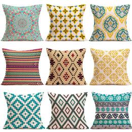 Geometric pillow case cover online shopping - 15 Styles geometric Pillow Case For Sofa Car Cushion print Pillow Cover Flax Pillowslip Bedding cm C5996