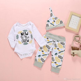Discount baby girl onesie tutu - 2019 INS Infant baby clothes sets baby girls Leaf print romper Onesie + long pants+ hat three piece sets