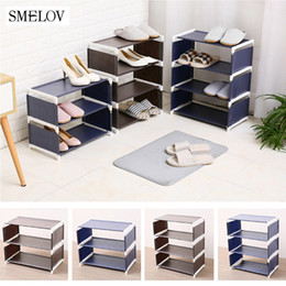 bathroom cabinet shelves UK - 3 4 5layers shoe rack organizer solid waterproof Shoes storage cabinet shelf Stand Holder Living room bedroom Door Shoe rack Y200527