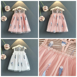 Wholesale chinese clothes skirts resale online - Feather embroidered baby girls sleeveless skirts white and pink color girl pricess dress kids summer boutiques clothes girls dress