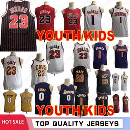 Wholesale Lonzo Ball Youth Kids Devin Booker Suns Boy Basketball Jerseys Kyle Kuzma MJ Chicago LeBron James Bulls Top Player