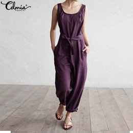 Harem Jumpsuits Women Australia - Celmia Women Jumpsuit 2019 Summer Trouser Harem Pants Sleeveless Rompers Elegant Casual Plus Size Overalls Office Palazzo Mujer Y19051501