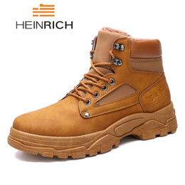 mens soft leather casual shoes UK - HEINRICH Male Snow Ankle Boots Waterproof Warm Fur Mens Leather Winter Boots Casual Shoes For Men Botas Mujer Invierno Bottine