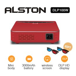 dlp 3d pocket projector Australia - ALSTON DLP100W Pocket HD DLP Projector 150ANSI Lumen high brightness Micro Wireless Portable 3D mini projector