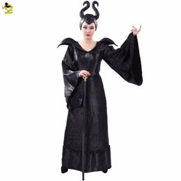 Maleficent Movie costuMes online shopping - Women Halloween Cosplay Witch Maleficent Costumes Black Halloween Made Maleficent Cosplay Suit Sleeping Curse Dark Witch Costumes