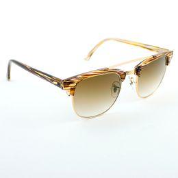 Sun Glasses Double Lens Australia - Luxury-wholesale 3816 Double Bridge club sunglasses women 51mm TR frame glass lens mirror round sun glasses oculos de sol Gafas UV400