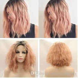 fiber root 2019 - Hot Selling Ombre Rose Pink Curly Wavy Wig Dark Roots Kinky Curl Hair Short Bob Synthetic Lace Front Wig Heat Resistant