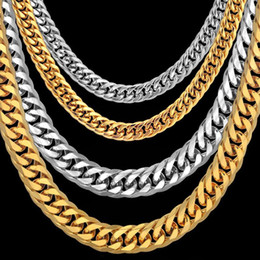 wholesale thick silver chains UK - Men's Necklace Thick Gold Silver Color Stainless Steel Male Cuban Link Chains Necklaces For Men Hip Hop Jewelry