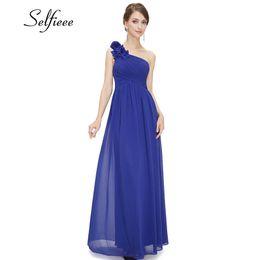 simple chiffon one shoulder wedding dress 2019 - Plus Size Purple Long Summer Elegant Burgundy Chiffon One-shoulder Simple Wedding Party Dresses For Women Q190524 cheap