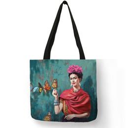 $enCountryForm.capitalKeyWord NZ - Exclusive Artist Printing Linen Tote Bag For Women Fashion Handbags Eco Reusable Shopping Bag Student School Bags Dropship