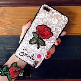 $enCountryForm.capitalKeyWord NZ - 2019 with Rope Rose Phone Cases for IPhone X XS 7 8 6 PLUS European Style Flower Embroidery Cover Black White