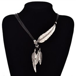 Vintage Feather Pendant Australia - 6pcs Feather Necklaces & Pendants Rope Leather Vintage Maxi Colar For Statement Necklace Women Fashion Jewelry Gifts