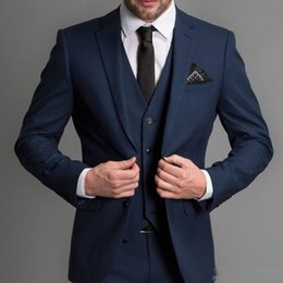 Royal Navy Buttons Canada - Handsome Navy Wedding Tuxedos Groom Wear Three Piece Notched Lapel Two Button Men Suits Custom Made Business Suit (Jacket + Pants + Vest)