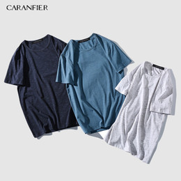 $enCountryForm.capitalKeyWord NZ - Caranfier Summer New T-shirt Men 95% Cotton 5% Spandex Solid Color Casual T Shirt Basics O-neck High Quality Male Tee Q190518