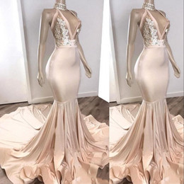 backless halter v tulle dress NZ - New Sexy Champagne Evening Dresses Wear Halter Deep V Neck Illusion Lace Crystal Beads Backless Plus Size Formal Party Dress Prom Gowns