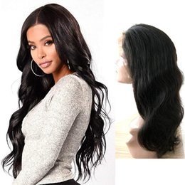 Body Wave Long Hair Australia - Glueless raw unprocessed virgin remy human hair long natural color body wave full lace top wig most popular for white women